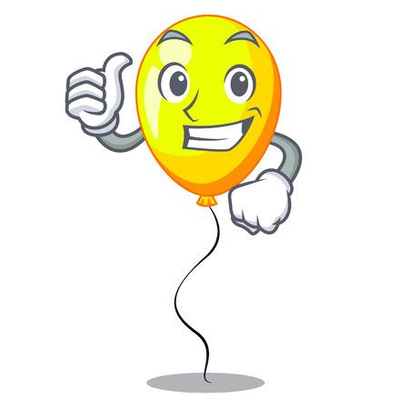 Thumbs up yellow balloon air in flying cartoon vector illustration