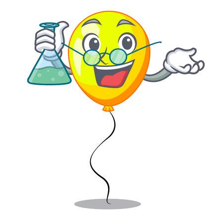 Professor yellow balloon air in flying cartoon vector illustration