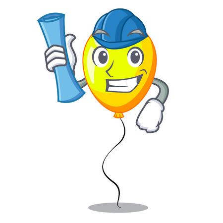 Architect yellow balloon air in flying cartoon vector illustration Ilustrace