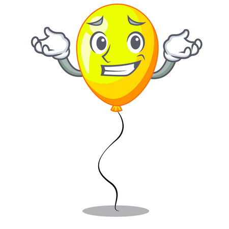 Grinning yellow balloon air in flying cartoon Ilustrace