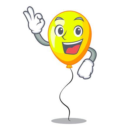 Okay yellow balloon air in flying cartoon vector illustration