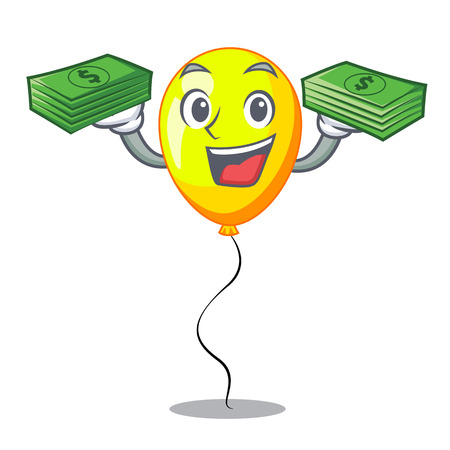 With money character yellow balloon ticket on holiday Ilustrace