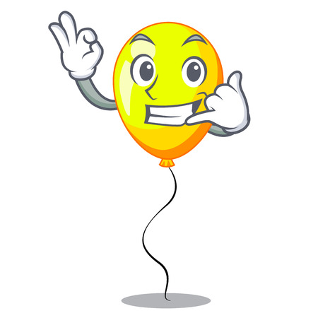 Call me Yellow balloon isolated on for mascot vector illustration