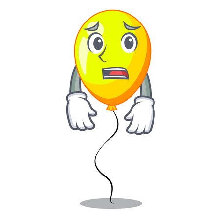 Afraid character yellow balloon ticket on holiday vector illustration