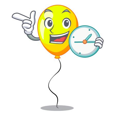 With clock yellow balloon air in flying cartoon vector illustration