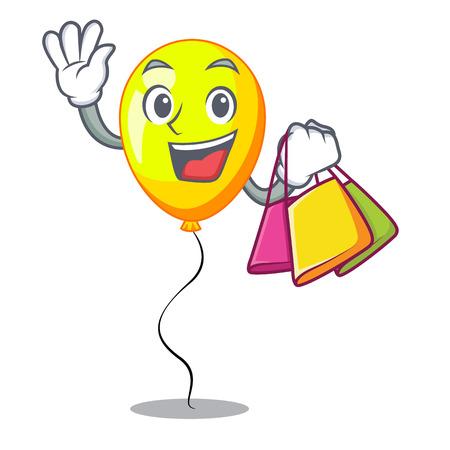 Shopping yellow balloon air in flying cartoon vector illustration Ilustrace