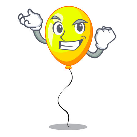Successful yellow balloon air in flying cartoon vector illustration