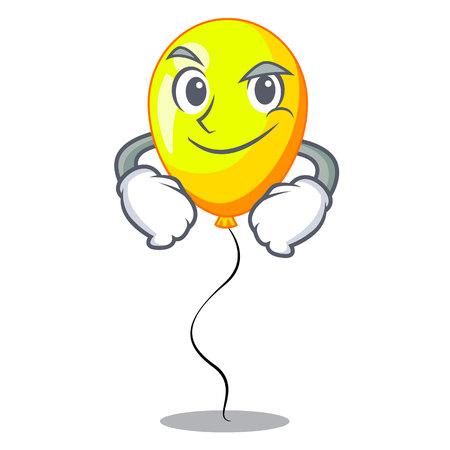 Smirking yellow balloon air in flying cartoon vector illustration