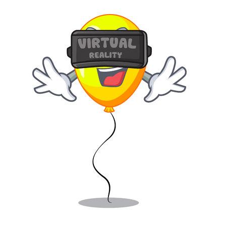 Virtual reality character yellow balloon ticket on holiday vector illustration Ilustrace