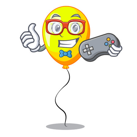 Gamer character yellow balloon ticket on holiday vector illustration