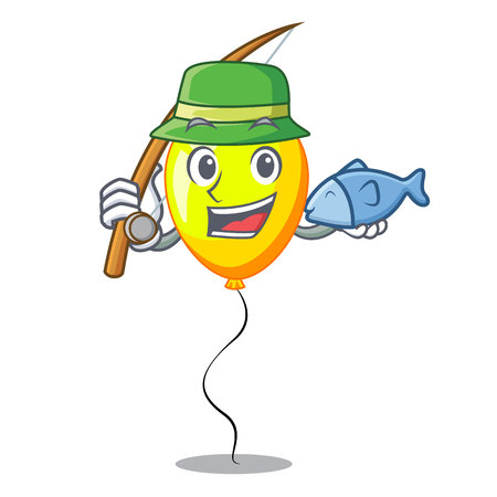 Fishing character yellow balloon ticket on holiday vector illustration Ilustrace