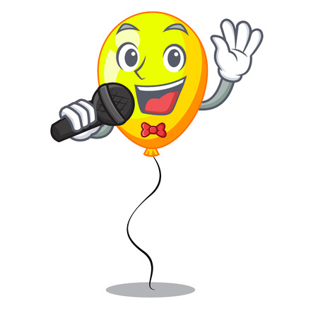 Singing character yellow balloon ticket on holiday vector illustration
