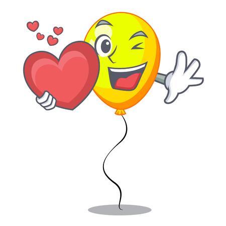 character yellow balloon ticket on holiday vector illustration