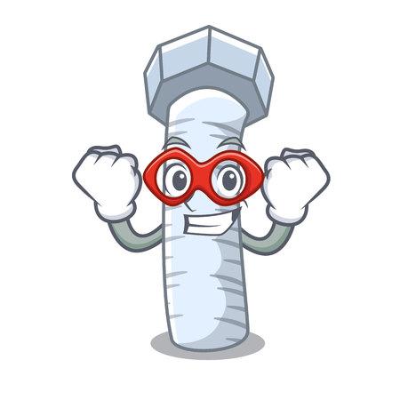 Boulon en métal de super héros qui a isolé sur la mascotte Vecteurs