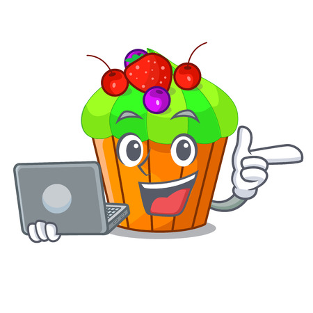 With laptop cupcake shape cartoon the delicious one vector illustration 스톡 콘텐츠 - 127590039