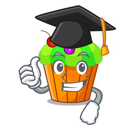 Graduation ice cream sundae cupcakes on character vector illustration Illustration