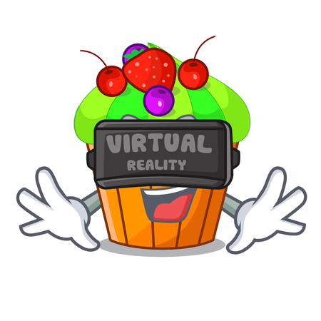 Virtual reality black currant cupcake isolated on mascot vector illustration Иллюстрация
