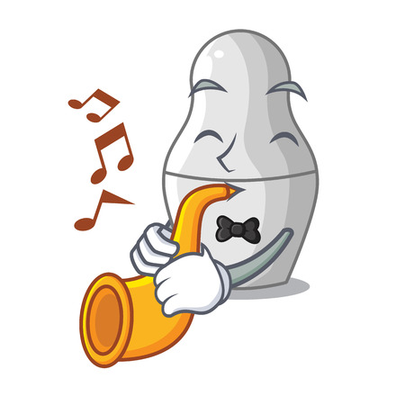 With trumpet cartoon nesting dolls which not painted vector illustration