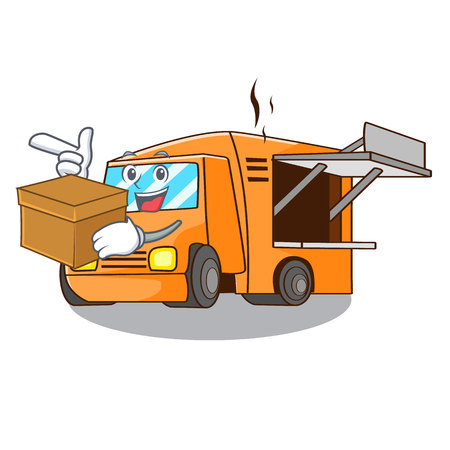 With box Food Truck with Isolated on mascot vector illustration