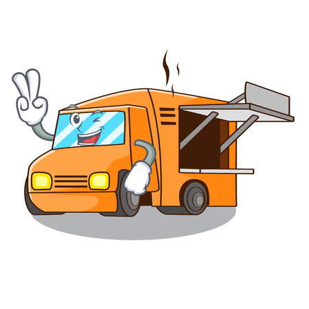 Two finger Food Truck with Isolated on mascot vector illustration Çizim