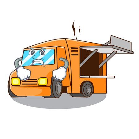 Angry food truck festival on shape cartoon vector illustration  イラスト・ベクター素材