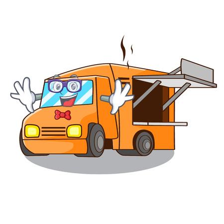 Geek Food Truck with Isolated on mascot vector illustration