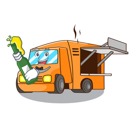 With beer character food truck with awning beautiful vector illustration