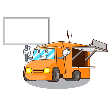 Bring board rendering cartoon of food truck shape vector illustration