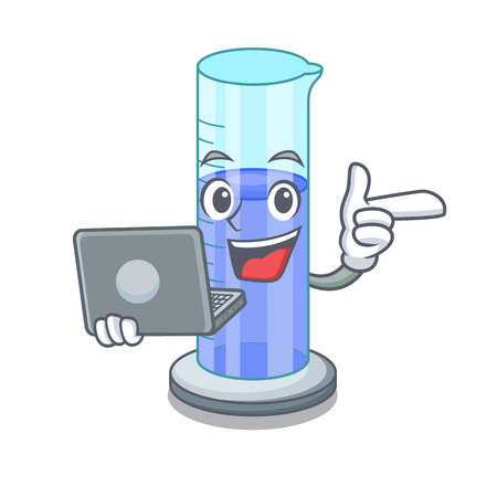 With laptop graduated cylinder with on mascot liquid vector illustration Illustration