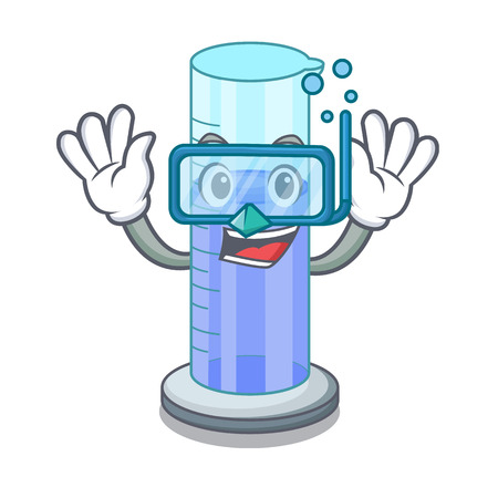 Diving graduated cylinder icon in outline character vector illustration