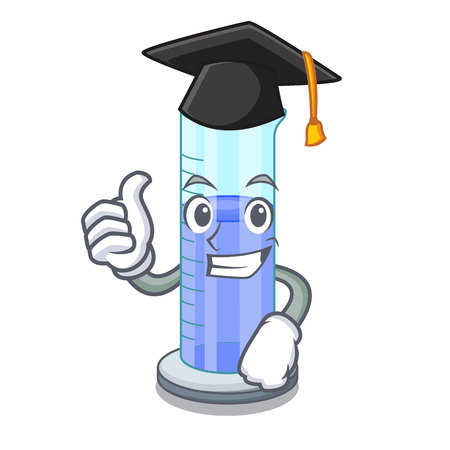 Graduation graduated cylinder icon in outline character vector illustration Illustration
