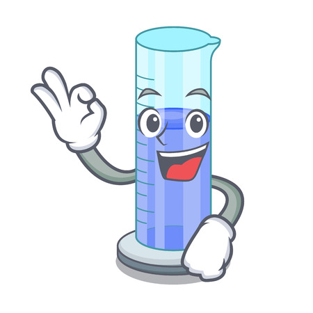 Okay graduated cylinder icon in outline character vector illustration
