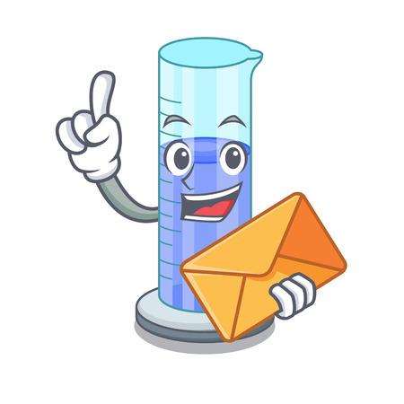 With envelope graduated cylinder icon in outline character vector illustration