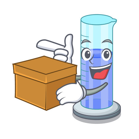With box graduated cylinder icon in outline character vector illustration