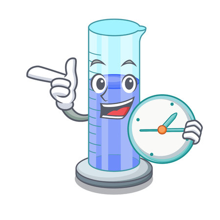 With clock graduated cylinder icon in outline character vector illustration