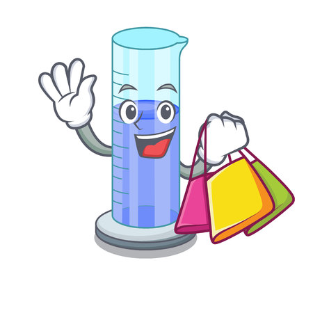 Shopping graduated cylinder icon in outline character vector illustration