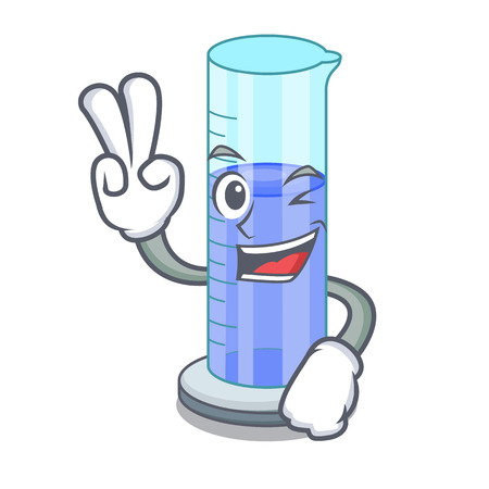 Two finger graduated cylinder icon in outline character
