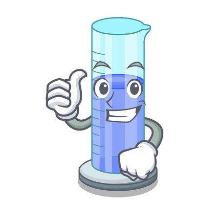 Thumbs up graduated cylinder icon in outline character