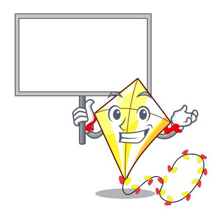 Bring board Kite cartoon fly away in sky vector illustration