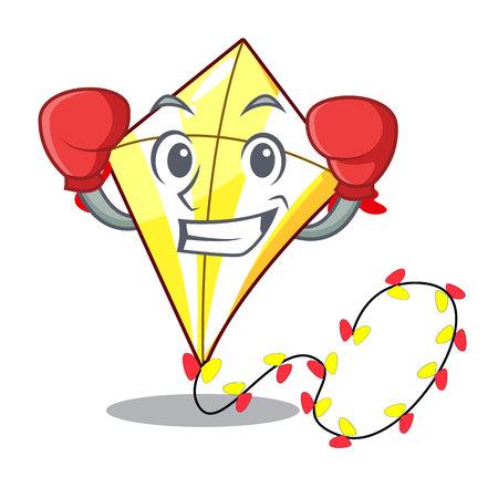 Boxing Kite cartoon fly away in sky vector illustration