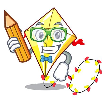 Student kite small the cartoon on table Illustration