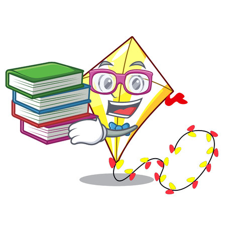 Student with book kite with on clouds shape character 向量圖像