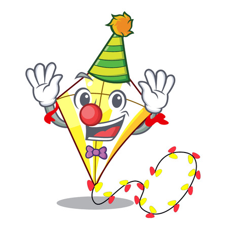 Clown kite with on clouds shape character vector illustration Illustration