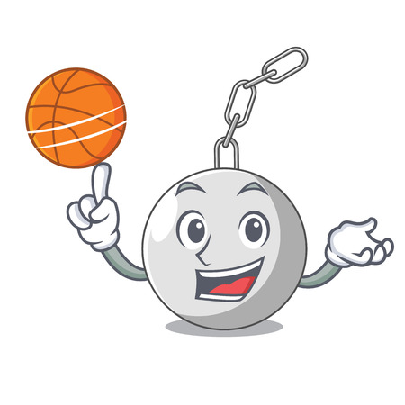With basketball wrecking shattering ball on wall cartoon vector illustration