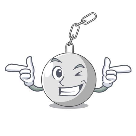 Wink wrecking ball hanging from chain cartoon vector illustration Illustration