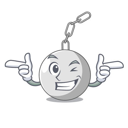 Wink wrecking ball hanging from chain cartoon vector illustration Stock Illustratie
