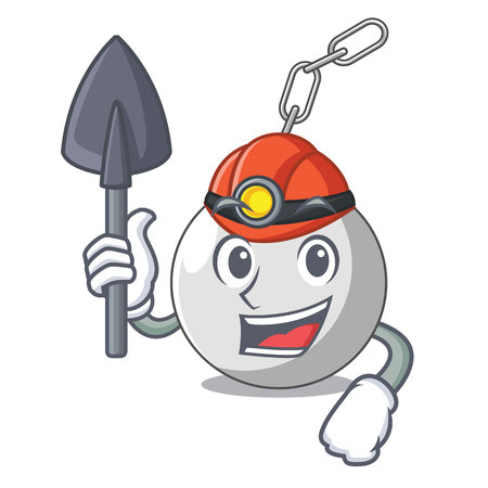 Miner wrecking ball isolated on a mascot vector illustration Illustration