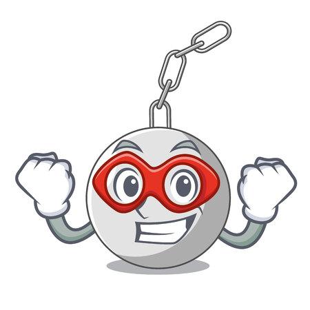 Super hero wrecking ball hanging from chain cartoon