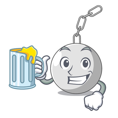 With juice wrecking ball isolated on a mascot vector illustration