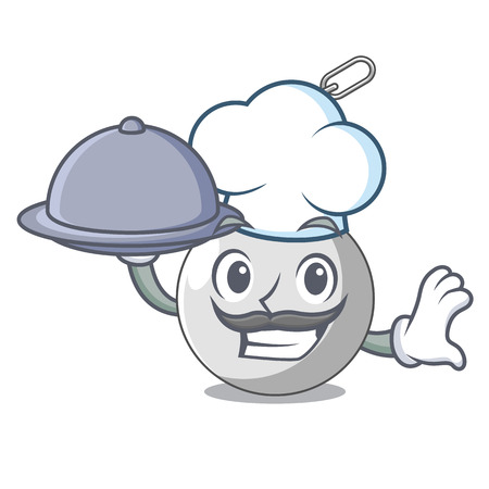 Chef with food wrecking ball isolated on a mascot vector illustration